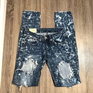 Machine 25 Distressed Splatter Skinny Jeans